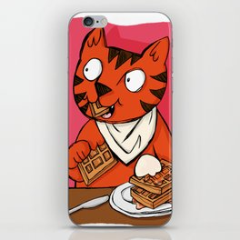 He's Eating Breakfast! Waffles Are Grrreat Anytime. iPhone Skin