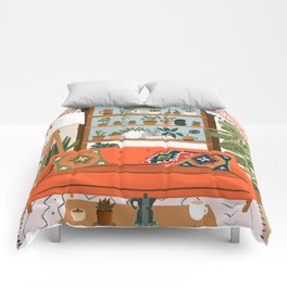 plant lady house Comforters