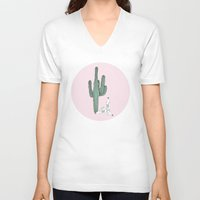 tequila V-neck T-shirts featuring Cactus and Tequila by Mrs. Ciccoricco