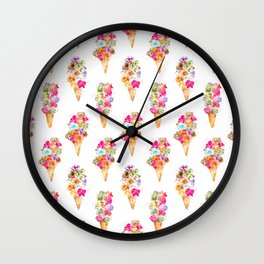 Sweet summer || watercolor ice cream Wall Clock