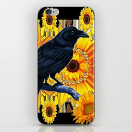 GRAPHIC BLACK CROW & YELLOW SUNFLOWERS ABSTRACT iPhone Skin