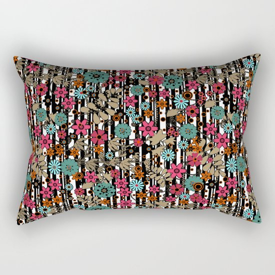 Floral pattern on black and white striped background Rectangular Pillow