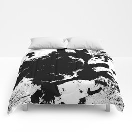 Black and white splat - Abstract, black paint splatter painting Comforters
