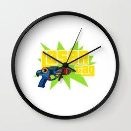 Laser Tag Game Sport Hobby Lazer Gun T-shirt Design Gun Shoot Shooting Shooter Laser Aim Aiming Wall Clock