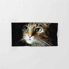 Tabby Cat With Green Eyes Isolated On Black Hand & Bath Towel