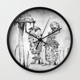 Bartholomew's Worry in B&W Wall Clock