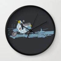 vespa Wall Clocks featuring Vespa by mtheb