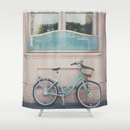 a mint green bicycle on the streets of Paris. Shower Curtain