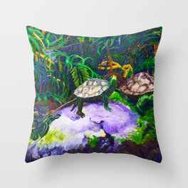 Three Turtles on Rocks Throw Pillow