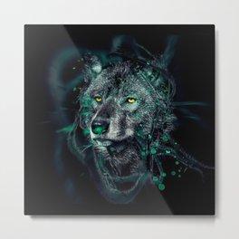 Green indian wolf Metal Print