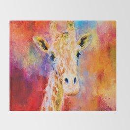 Jazzy Giraffe Colorful Animal Art by Jai Johnson Throw Blanket