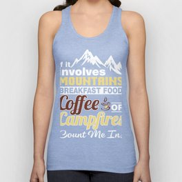 Gift Ideas For Coffee And Camping Lover. Unisex Tank Top