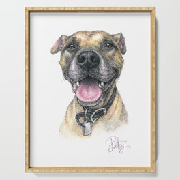 """Winston Xavier"" the Rescue Boxer Pitbull by Betsy VanDeusen Serving Tray"