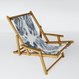 Simply Ikat Ink in Indigo Blue on Lunar Gray Sling Chair
