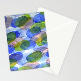Green Blue Red Ovals Stationery Cards