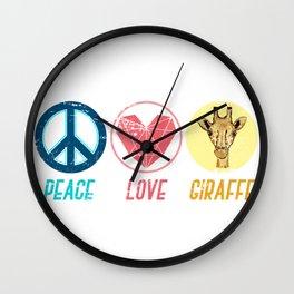 Peace Love Giraffe Wall Clock
