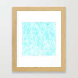 White winter forest- With snow covered trees- pattern on teal Framed Art Print