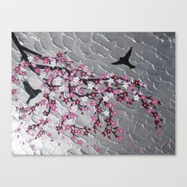 pink and white japanese cherry blossom design designs japan with silver texture in background Canvas Print