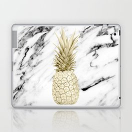 Gold Pineapple on Marble Laptop & iPad Skin