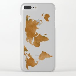 World Map Vintage Brown Clear iPhone Case