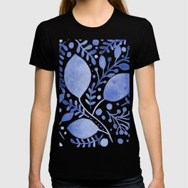 Branches and leaves - blue T-shirt