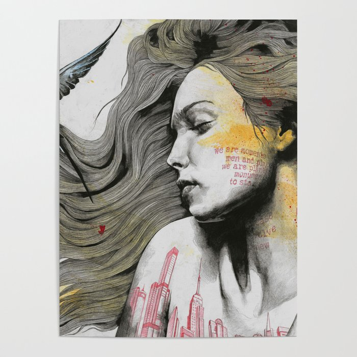 Monument (long hair girl with bird and skyline tattoo) Poster