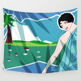 ANACAPRI: Art Deco Lady in Blue and Green Wall Tapestry