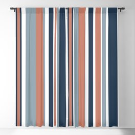 Vertical Stripes in Blues, Blush Coral, and White Blackout Curtain