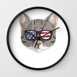 Patriotic Tabby Cat Kitty Merica American Flag Wall Clock