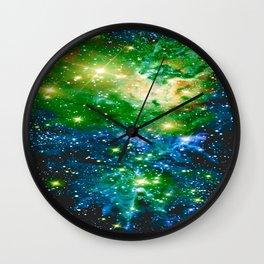 Fox Fur Nebula Teal Green Wall Clock