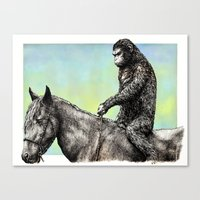 planet of the apes Canvas Prints featuring Planet of the Apes (Caesar) by Hector Trunnec