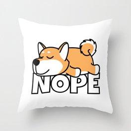 Nope Shiba Inu Throw Pillow