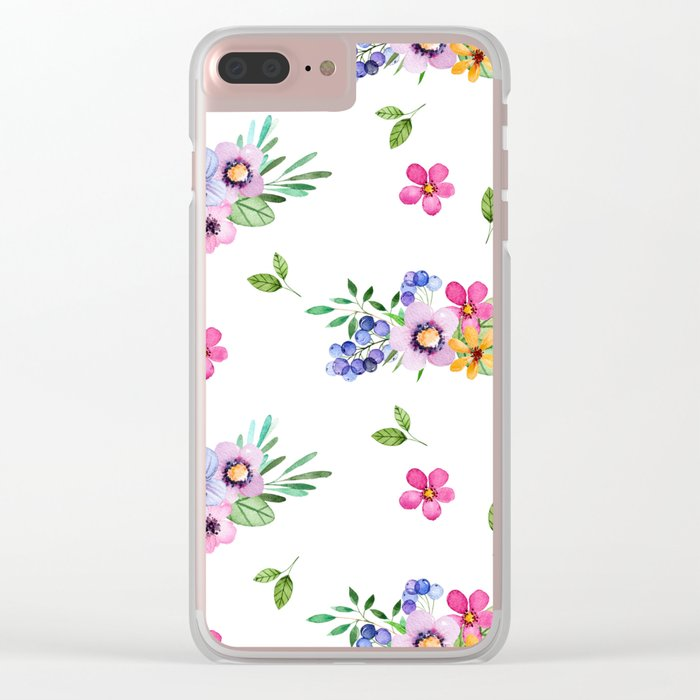 Bright Flowers Clear iPhone Case