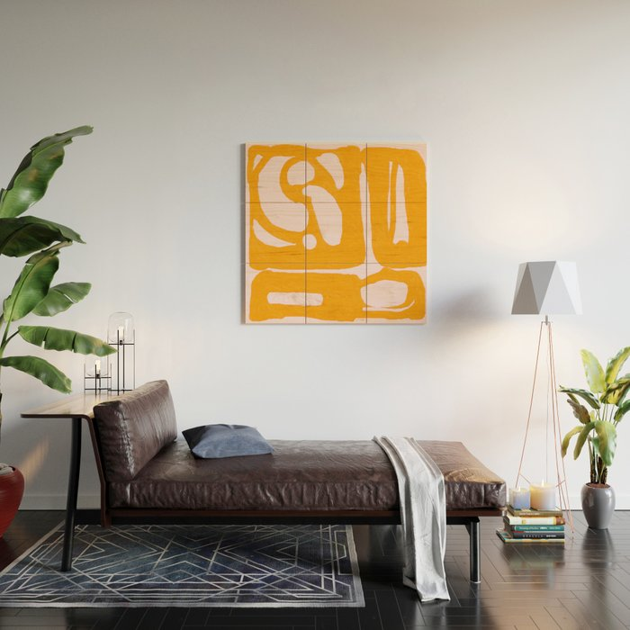 Abstract in Yellow and Cream Wood Wall Art