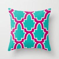 moroccan Throw Pillows featuring Moroccan by Farah Saheb