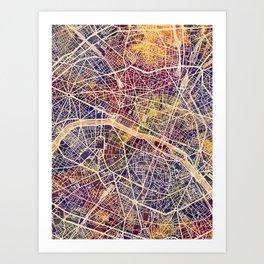 Paris France City Map Art Print