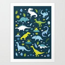 Kawaii Dinosaurs in Blue + Green Art Print