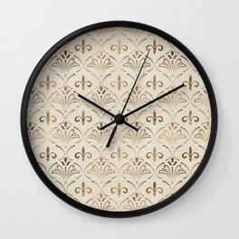 Elegant Fleur-de-lis pattern - pastel gold Wall Clock