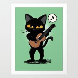 Cat guitar Art Print