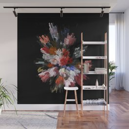 Abstract 3D pixel flowers Wall Mural