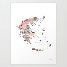 Greece map portrait Art Print