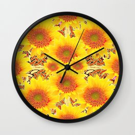 Yellow Caramel Sunflowers on Floral Patterns Wall Clock