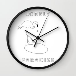 flamingo lonely paradise Wall Clock