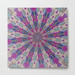 Totem Kaleidoscope In Purple Red and Jade Metal Print