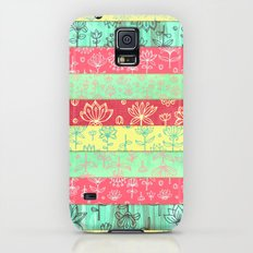 Lily & Lotus Layers in Mint Green, Coral & Buttercup Yellow Slim Case Galaxy S5