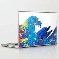 hokusai Laptop & iPad Skins featuring Hokusai Rainbow & Dolphin by FACTORIE