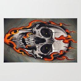 Skull in Flames Rug