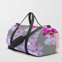 PURPLE  FUCHSIA ORCHIDS  SPRINKLES ON  GREY-PINK ART Duffle Bag