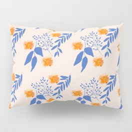 Floral Pattern Indigo Orange Blue Pillow Sham