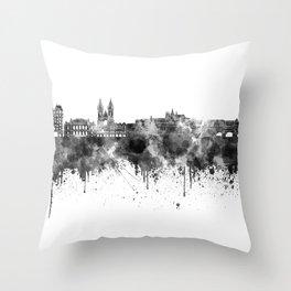 Prague skyline in black watercolor  Throw Pillow
